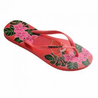 Havaianas Slim Floral Flip Flops Coral