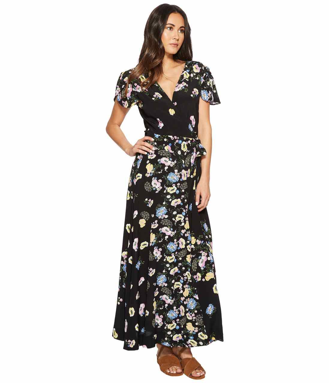 Free People Gorgeous Jess Wrap Maxi Dress Ob770124 Black