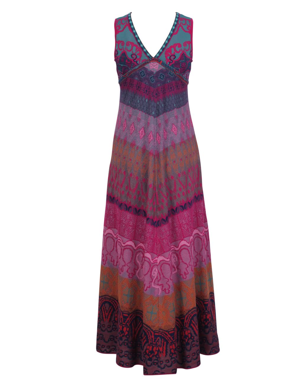 12392ef4bc73 IVKO Loose Stitch Long Dress 81621 Pink Burgundy