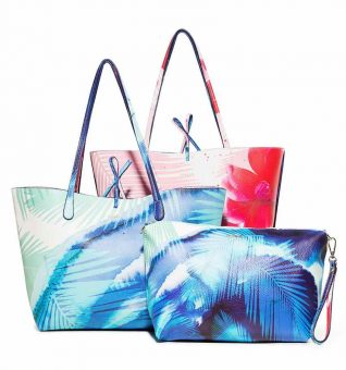 Desigual Blue Palms Capri Reversible Bag