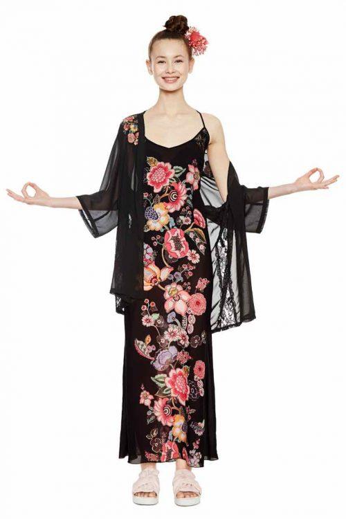 Desigual Long Slip Black Floral