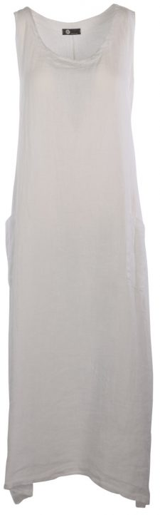 M Made in Italy Long White Linen Dress