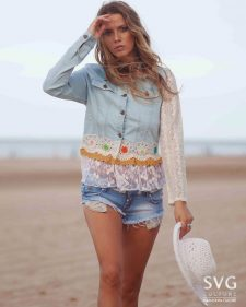 Savage Culture Jeans Jacket with Lace Crochet