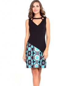 Pygmees Dress Retro Black Aqua