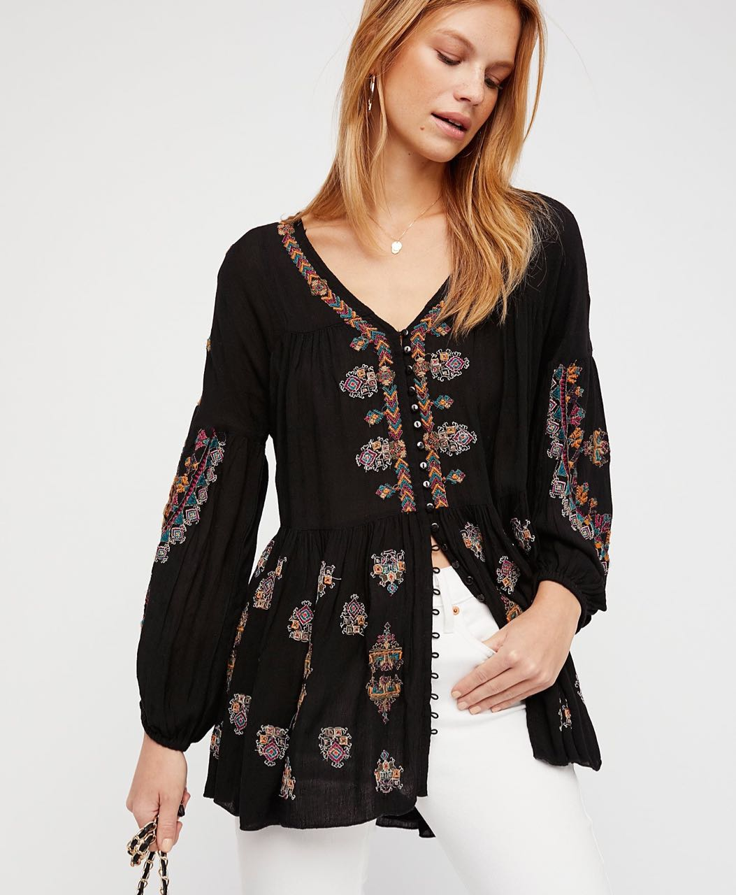 f82e636be94 Free People ARIANNA TUNIC (black) with Embroidery