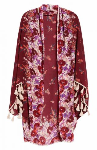 Free People Bali Wrapped in Blooms Shawl (Red)
