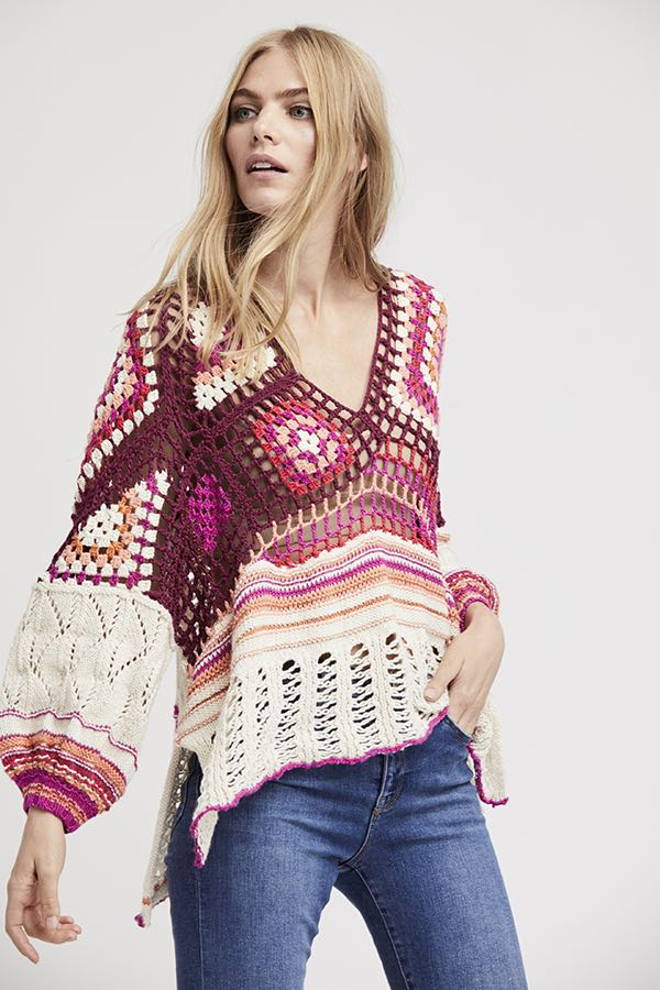 free people call me crochet top sweater ob748640