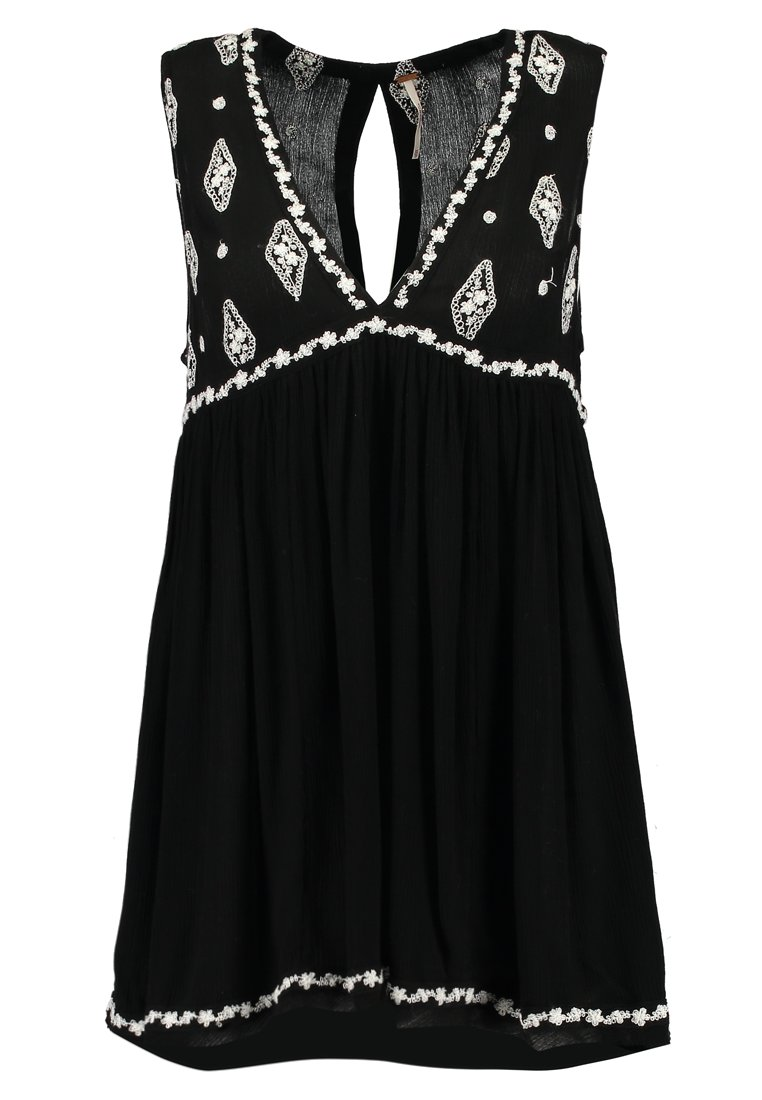 Free People Sleeveless Diamond Embroidered Top Black