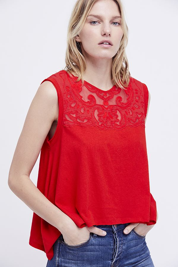 Free People Meant To Be Tee Ob778759 Red