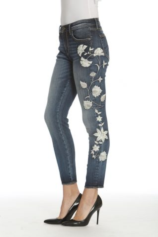 Driftwood Skinny Jeans with White Floral Embroidery