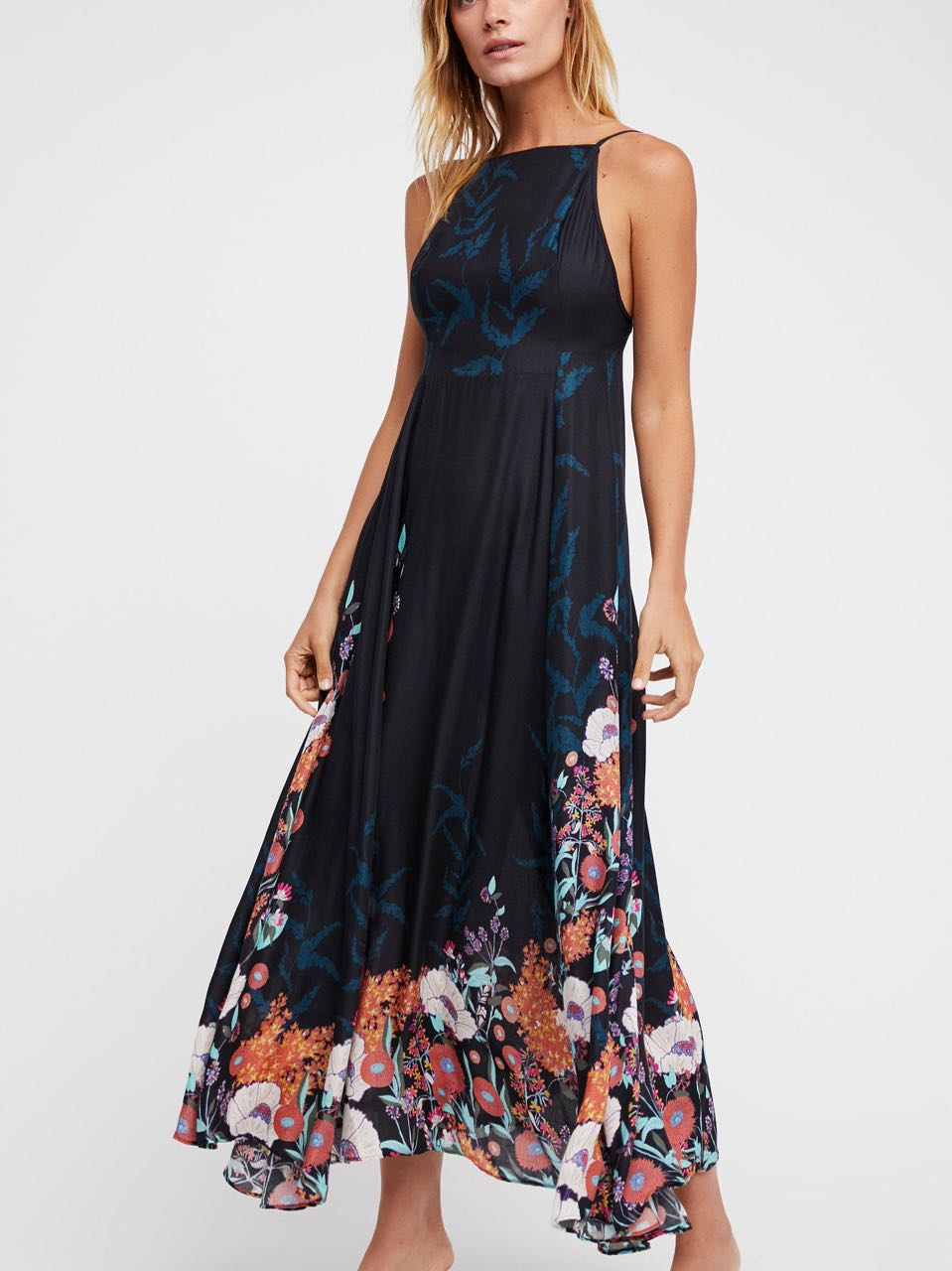 8a03f2f28d8 Free People EMBRACE IT MAXI Dress Black Long