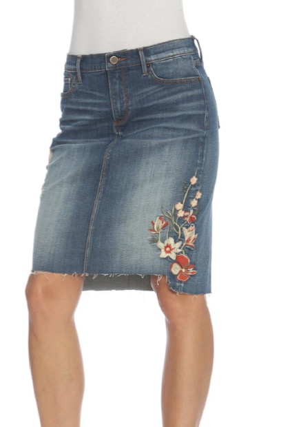 Driftwood Denim Skirt Skylar Floral Embroidery