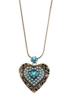 Michal Negrin Aqua Blue Heart Necklace
