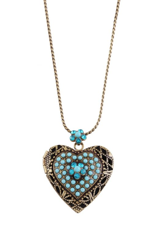 Michal Negrin Aqua Blue Heart Necklace