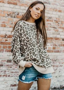 Free People Animal Print Sweater