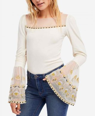 Free People White Top with Bell Sleeves
