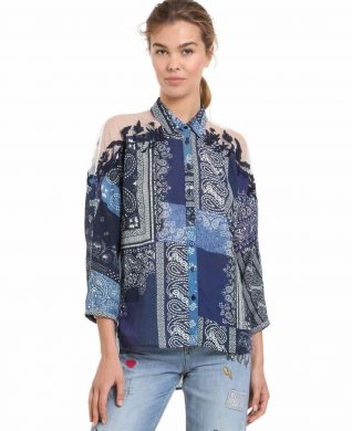 Desigual Blue Shirt with Mesh Shoulders