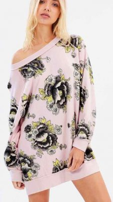 Free People Floral Pink Cotton Pullover