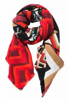 Desigual Warm Scarf in black White Red