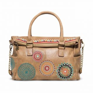 Desigual Beige Bag with Mandalas Embroidery
