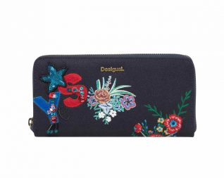Desigual Navy Wallet with Embroidery