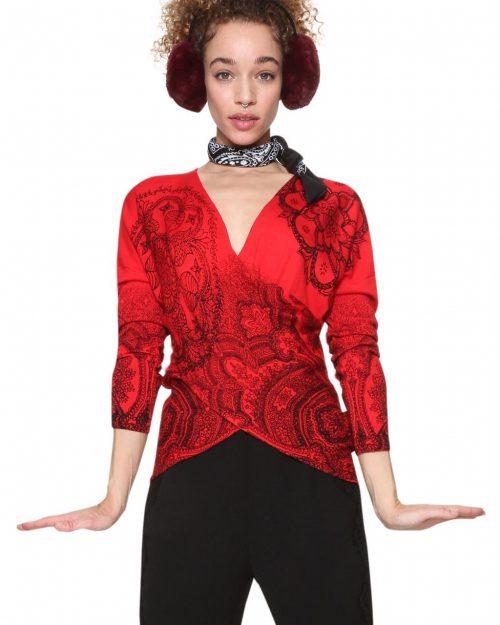 Desigual Red Criss Cross Sweater