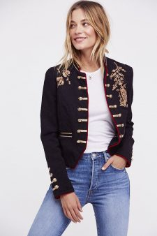 Free People Band Jacket with Gold Embroidery