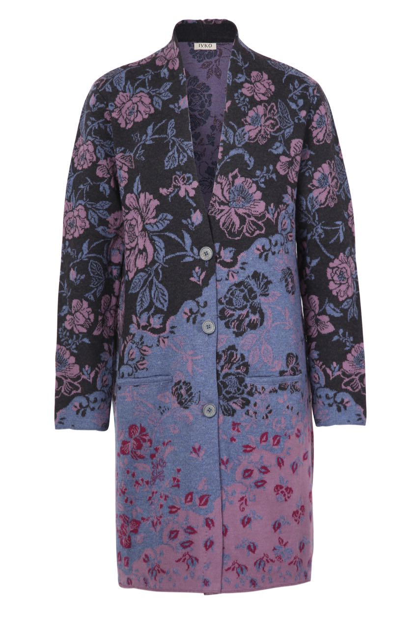 Ivko Long Wool Coat Floral Pattern 82508 Anthracite Purple