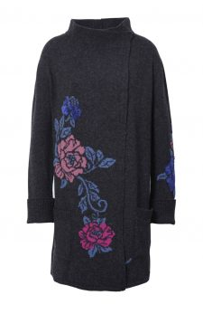 IVKO Long Wool Coat with Floral Design