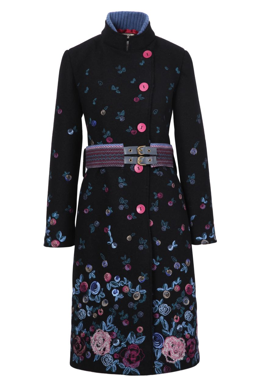 Ivko Bolied Wool Coat With Embroidery 82501 Black Fall