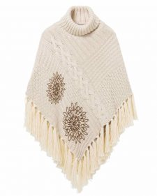 Desigual Winter Poncho with Fringes