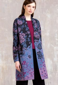 IVKO Merino Wool Long Coat Floral Pattern