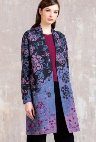 IVKO Merino Wool Long Coat Floral Pattern