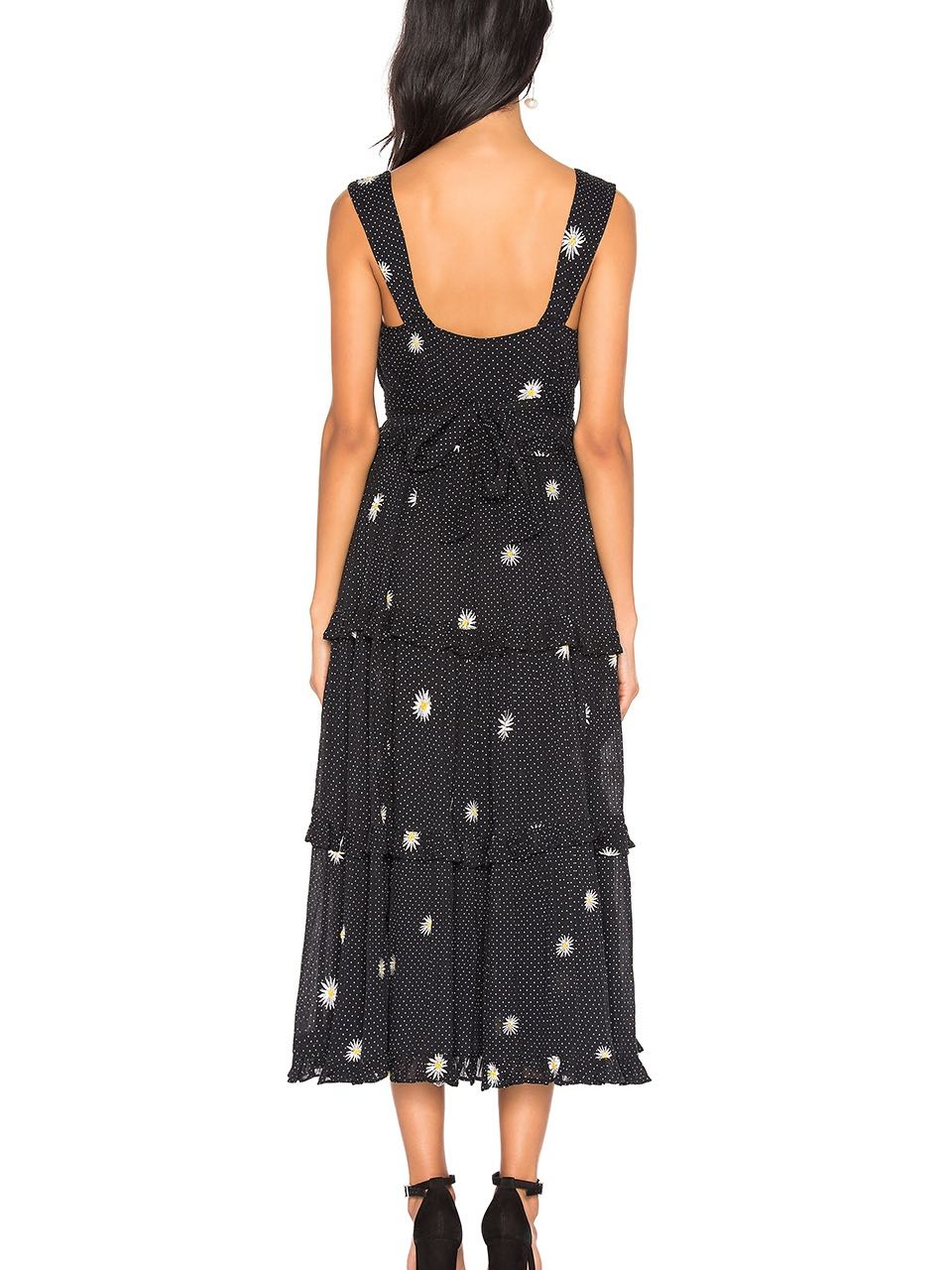 Free People Daisy Chain Embroidery Midi Dress Black