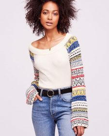 Free People Thermal Top with Knitted Flared Sleeves
