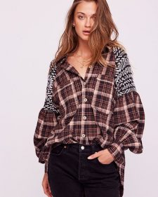 Free People Fireside Nights Buttondown Plaid Shirt Black