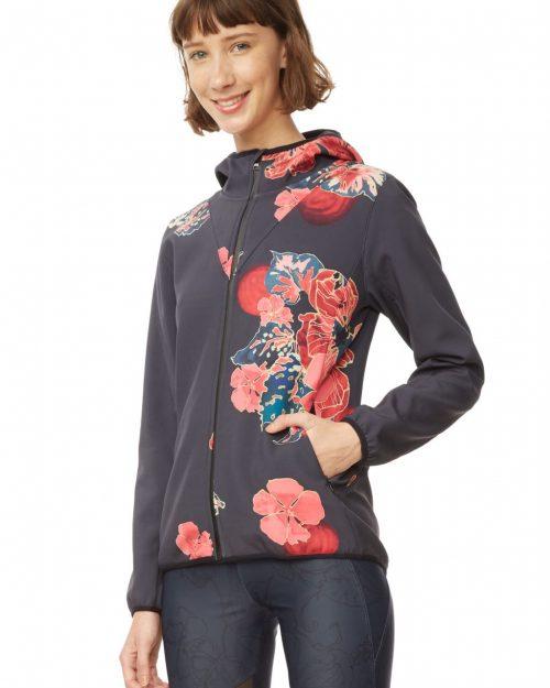 Desigual Sport Jacket with Hood, Black Floral