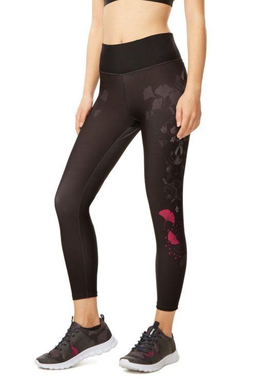 Desigual Black Legging Floral Design