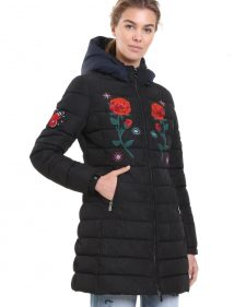Desigual Black Winter Coat with Red Floral Design