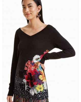 Desigual Black Pullover with Floral Design