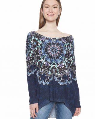 Desigual Navy Blue Sweater with Mandalas Design
