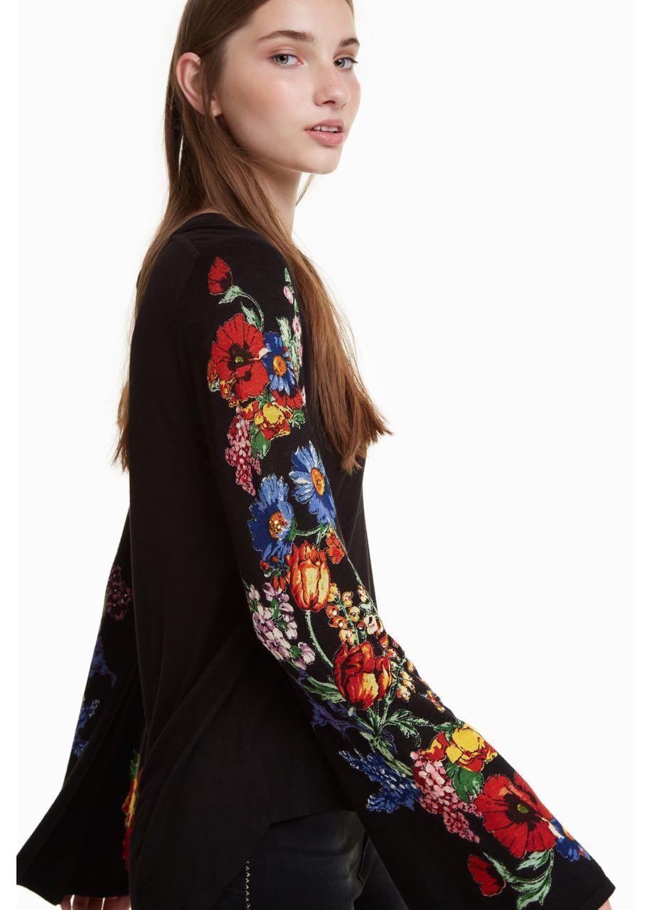 DESIGUAL T-Shirt CLAUDINA Black Floral 18WWTKAI