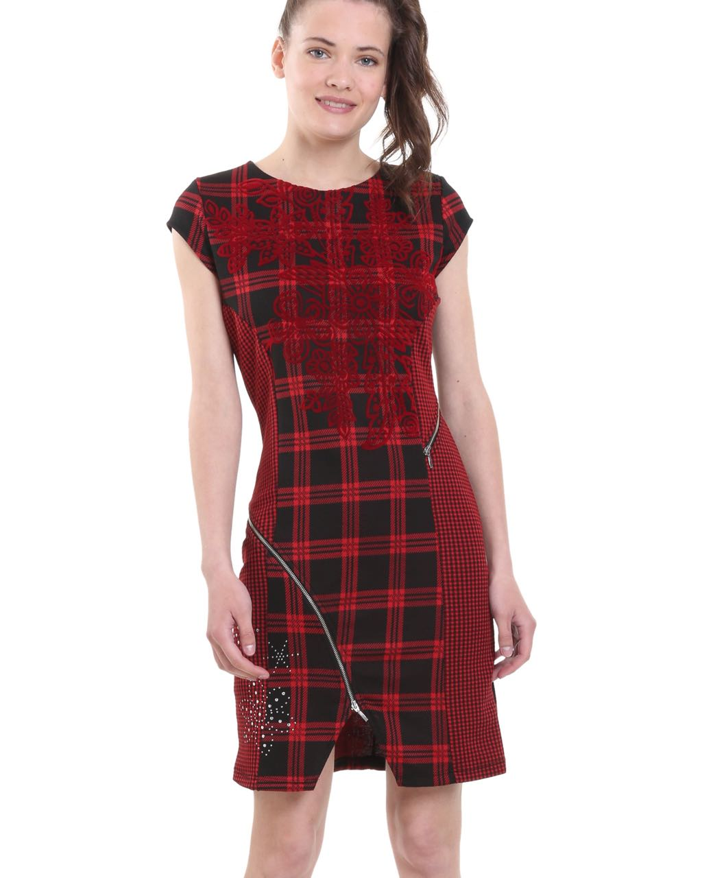 Red Plaid Carolers 18: DESIGUAL Dress ROMA Zippers Plaid Embroidery 18WWVK75 Red