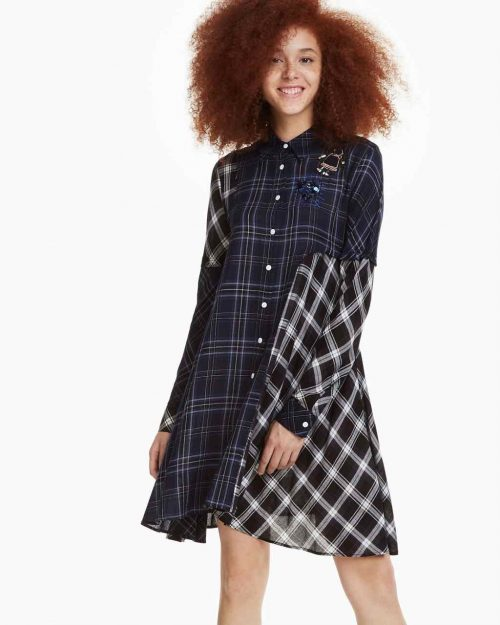 Desigual Plaid Dress Shirt Fressia