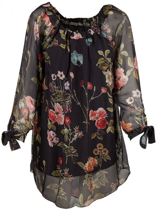 M Made in Italy Black Floral Silk Tunic