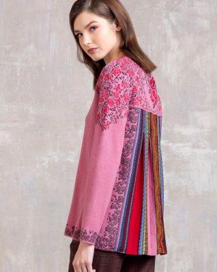 IVKO V-Neck Pullover Intarsia Pattern 82536 Powder Pink