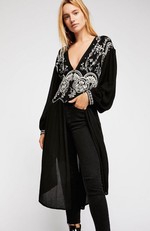 Free People Bohemian Long Tunic with Embroidery