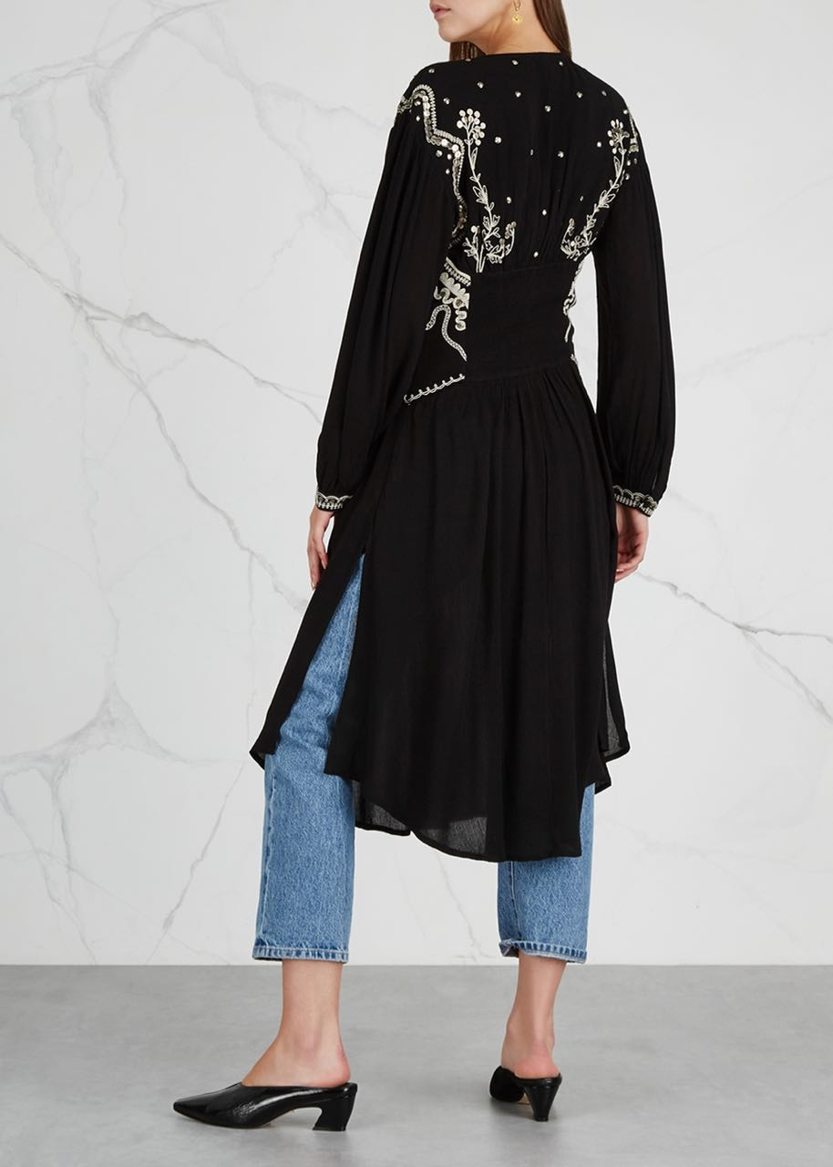 Skyline For Sale Usa >> Free People Highline Skyline Maxi Top Black Embroidery Sequins