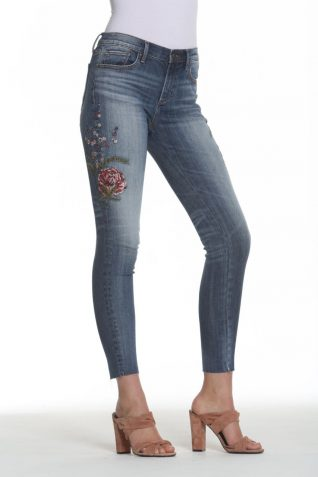 Driftwood Denim Pants with Floral Embroidery