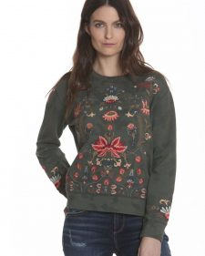 Driftwood Pullover with Embroidery Khaki Green Teddy